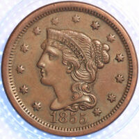 """1855 """"UPRIGHT 55's"""" """"BRAIDED HAIR"""" LARGE CENT, VERY CHOICE AU, ORIGINAL CLASSIC!"""