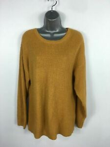 WOMENS NEW LOOK MUSTARD YELLOW LACED BACK CHUNKY KNIT ROUND NECK JUMPER SMALL