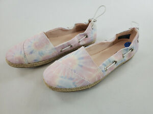 new Nautica women loafers shoes Rudder textile upper whtie pink blue sz 7.5
