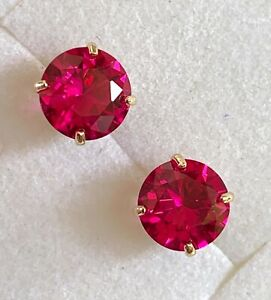 BRAND NEW - MADE IN USA - 14K SOLID GOLD - 6MM RUBY STUD EARRINGS