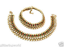 Glittering World Designer Red Green Kundan And Pearl Payal Anklet For Women