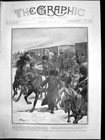Antique Old Print Russian Cavalry Exercising Horses Detrained Manchuria 1904