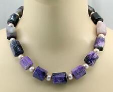 Sugilithkette große Sugilithe mit rosa Perle Halskette für Damen 50,5 cm