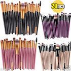 20PCS Pro Foundation Eyebrow Eye Shadow Brushes Soft Goat Hair Makeup Brush Set