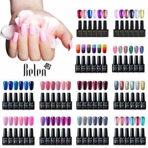 Belen 6pcs Colour Gel Nail Polish Glitter Manicure Stater Kits Gift Set UV LED