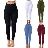 Women Lady Pencil Stretch Casual Jeggings Skinny Pants High Waist Slim Trousers