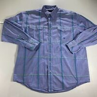 Roper Pearl Snap Button Up Shirt Adult XL Blue Long Sleeve Western Workwear Mens