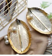 NEW Ceramic Plate Golden Leaves Gift Jewelry Tray Food Pastry Dessert Dish Decor