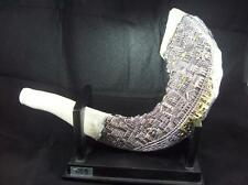 Shofar in Silver and White  with Jerusalem Imagery -   Israel Gift