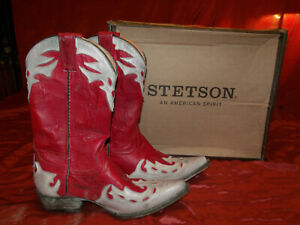 Ladies STETSON 12-021-6102-0544 Red/White Wash, Inlaid Leather Boots  SZ 7.5