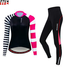 Ladies Cycling Clothes Long Sleeve Jersey Padded Pants Set Running Sportswear