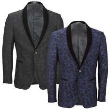 Mens Vintage Floral Print Tuxedo Suit Jacket Black Velvet Shawl Lapel Blazer