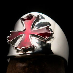 Perfectly crafted Mens Sterling Silver Ring Cathar Templar Cross Red