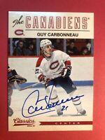 2012-13 Panini Classics Signatures #103 Guy Carbonneau Montreal Canadiens Auto