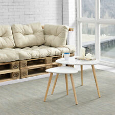 [en.casa]® Set de 2 mesas de centro - blanco - patas de madera maciza de haya