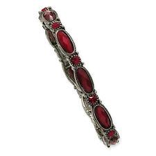 Red Crystal Stretch Bracelet Black Plated 1928 Boutique