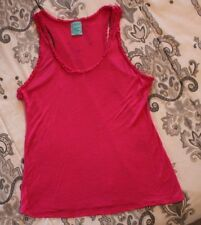 """H.I.P. """"Happening in the Present"""" Pink Rayon Tank Top, Womens L Ruffle Fray Trim"""