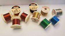 Lot Vintage Metallic Thread ~ 6 colors ~ Gudebrod ~ Talon American ~ Fly Tying