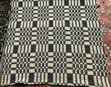 Indigo and Cream Woven Coverlet,