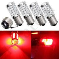 4Pcs Red BAY15D 1157 33-SMD LED Bulbs Turn Signal Tail Brake Backup Light 12V