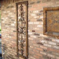 Tuscan Long Rectangle Wrought Iron Wall Grille Plaque Scroll Metal Sculpture Art