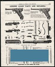 1951 LUGER Pistol Parts List and Repairing AD