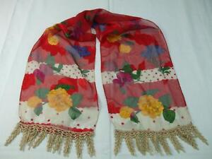 Vintage Neck Scarf Red Sheer Fabric Yellow Roses Flowers Gold Metallic End Trim