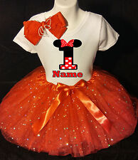 MINNIE MOUSE **With NAME** 1st first 1 Birthday red Tutu dress Fast Shipping