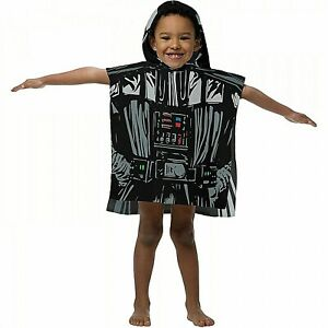 Star Wars Darth Vader, Kids Hooded Poncho Towel, Black, 100% Cotton, NEW
