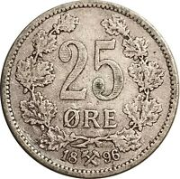 1896 Norway Silver 25 Øre, KM-360, First Year of Issue, Key Date, Nice VF