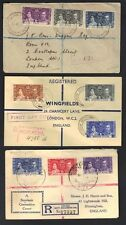 BRITISH GUIANA, SOLOMON ISLANDS, FIJI, 1937 THREE REGISTERED CORONATION FDC's