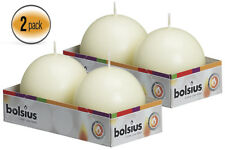 """Ivory Ball Candles 2.75"""" 70 mm. Set OF 4 Ball Candles - By Bolsius"""