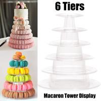 6Tiers Round Macaron Tower Cake Stand PVC Tray Display Rack for Wedding Birthday