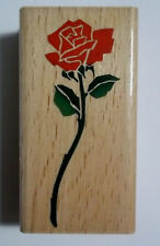 Single Rose  Wood-mounted  Rubber Stamp  1-1/2  x 3 Inches Allnight Media  New