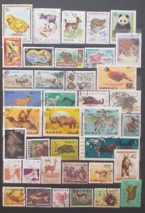 Animal stamps collection - 38 used animal stamps - Mix World