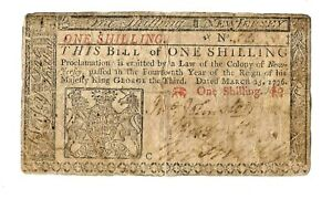 Colonial Currency.  New Jersey 1776 One Shilling