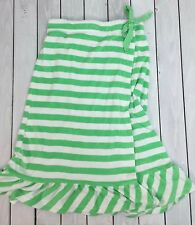 Betsey Johnson Lime Green White Stripe Terry Cloth Robe Cover Up Strapless S/M