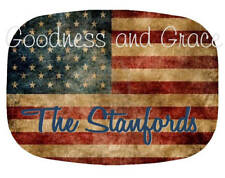 American Flag Platter Personalized Vintage Design for July 4th or Labor Day Gift