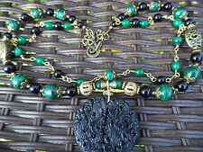 BOHEMIAN Carved Chinese Dragon Jade MALACHITE Onyx African Brass beaded NECKLACE