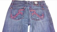 Rock & Republic Halen Jeans Womens 24 Embroidered Red Stitch 28 x 29 USA Made