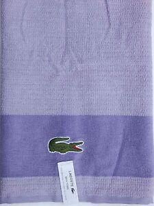 LACOSTE BATH TOWEL 30x52 PURPLE CROCCO LOGO COTTON NEW AUTHENTIC