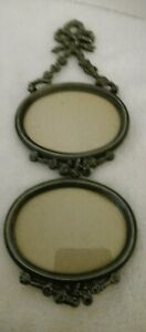Vintage RUSS Metal Victorian Style Double Oval Hanging Picture Frame Pewter-Tone