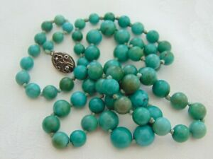 ANTIQUE VICTORIAN CHINESE TIBETAN TURQUOISE SILVER CLASP GRADUATED BEAD NECKLACE