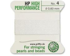 HP HIGH PERFORMANCE BIANCO SETA prendendo gioco FILO 0,60 MM Griffin TAGLIA 4-ft799