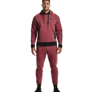 Under Armour Mens Recover Fleece Hoodie Red Sports Gym Hooded Warm Breathable