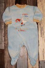 """~ Pyjama en velours bleu IN EXTENSO mixte 3 mois  ~ bord jaune - """"lutins"""""""