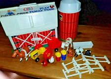 Fisher Price little people vintage Farm Barn Silo Farmers Animals fence 60's