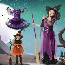 Halloween Kinder Mädchen Hexenkostüm Kleid+Hüte Kostüm Hexe Kleidung Kind Party*