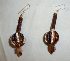 Handmade Beaded Chandelier Earrings Brown Natural Fall Colors, Very Eye Catching