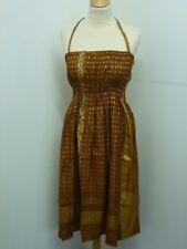 INDIEN recyclé Sari robe été mi-longue Taille Unique cuivre (CP1)
